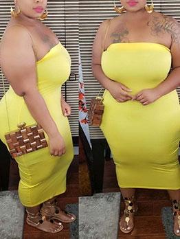 Pure Color Plus Size Strapless Dress
