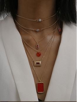 Vintage Square Zircon Layered Necklace