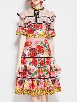 Rose Printed Short Sleeve Ruffled Edge Summer Dress