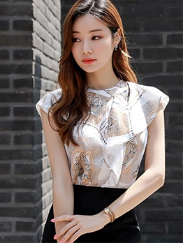 Fashion Printed Zipper Top With Solid Pencil Skirt
