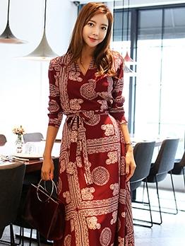 Bohemian Style V Neck Tie-Wrap Maxi Dress