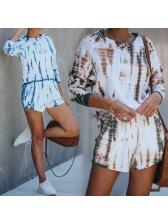 Tie Dye Long Sleeve Casual 2 Piece Shorts Set