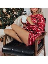 Christmas Pattern Long Sleeve 2 Piece Shorts Set