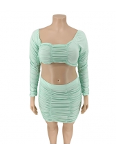 Low Cut Plus Size Ruched Design Crop Top And Skirt Set
