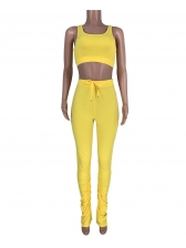 Cropped Tank Top With Stacked Pants Set Solid Color