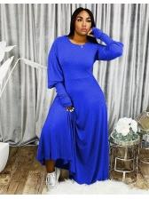Lantern Sleeve Floor Length Solid Maxi Dress