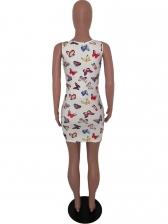 U Neck Butterfly Print Short Sleeveless Dress