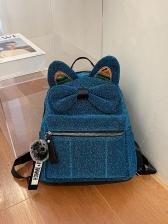 Cute Cat's Ear Bowknot Women Backpack