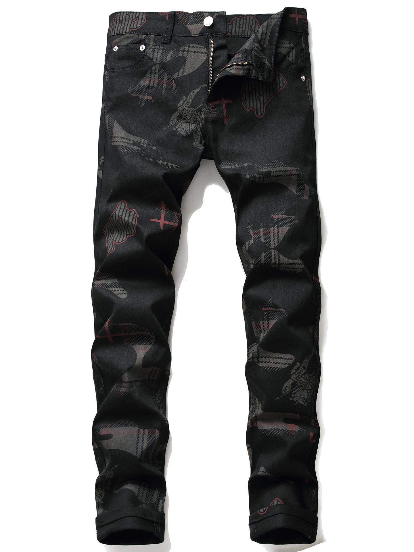 Trendy Mid Waist Printed Mens Black Jeans