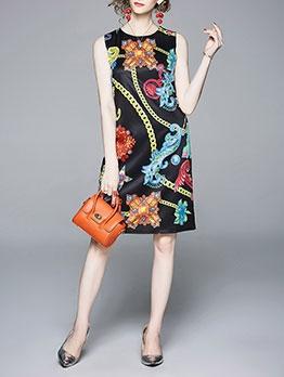 Summer Crew Neck Chain Printed Sleeveless Midi Dress