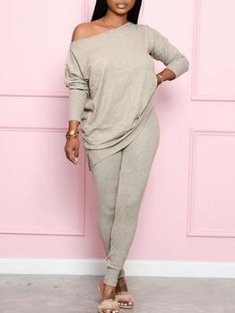 Solid Simple Long Sleeve Casual Pants Set