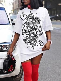 Fashion Poker Print Short Sleeve T Shirt Dress