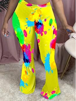 Multicolored Printed Mid Waist Flare Pants
