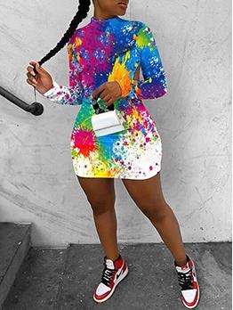 Stylish Graffiti Print Backless Long Sleeve Short Dress