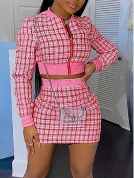 Chic Zipper Long Sleeve Plaid Two Piece Skirt Set