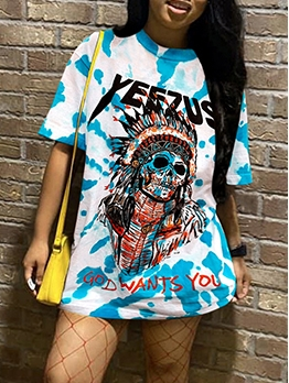 Skull Print Short Sleeve T Shirt Dress