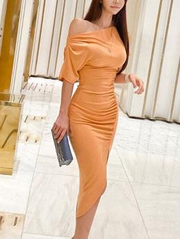 Lady Solid Short Sleeve Split Bodycon Dress