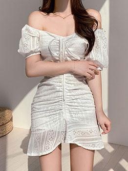 Fresh Tie-Wrap Pleated Short Sleeve Mini Dress