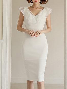 Solid V Neck Sleeveless Bodycon Dresses For Women