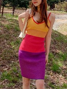 Contrast Color V Neck Sleeveless Knitted Women Dress