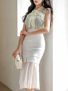 Summer Sleeveless Chiffon Top With High Waist Skirt