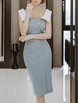 Lady Contrast Color Sleeveless Bodycon Maxi Dress