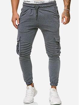 Solid Color Pocket Skinny Mens Pants