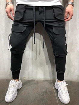 Casual Solid Color Multi-Pocket Jogger Pants