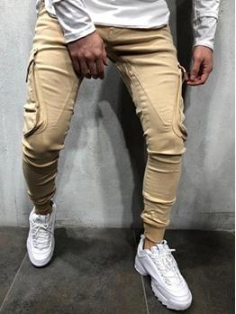 Pure Color Pockets Mens Casual Pants