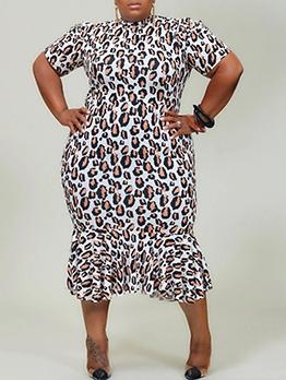Skinny Leopard Print Plus Size Maxi Dress