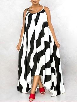 Striped Print Floor Length Loose Maxi Dresses