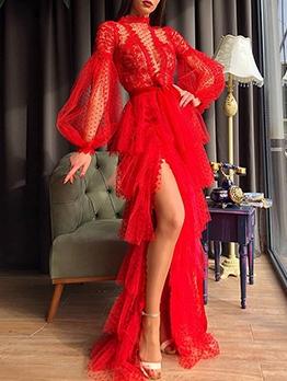 Ruffled Sexy Gauze Puff Sleeve Prom Dress