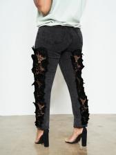 Trendy Mid Waist Lace Panel Skinny Jeans