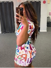 Colorful Letter Printed Short Sleeve Bodycon Romper