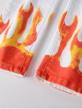 Street Flame Print Mid Waist Mens Jeans
