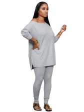 Solid Simple Long Sleeve Casual Pants Set