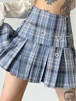Pleated Hem High Waist Women Plaid Skirt