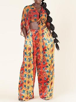 Fashion Printed Two Piece Pants Set