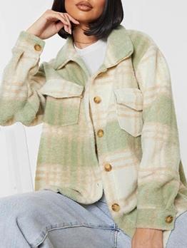 Casual Simple Turndown Collar Plaid Coat