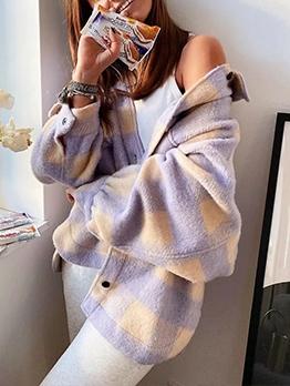 Winter Easy Matching Woolen Plaid Coat