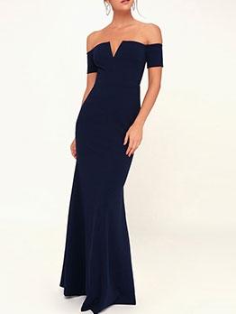 Solid Off Shoulder Plus Size Evening Dresses