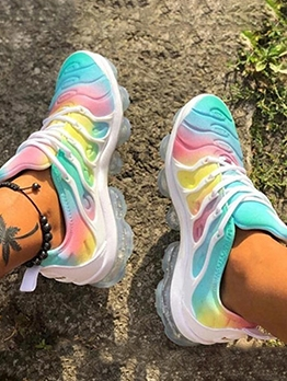 Casual Rainbow Color Running Shoes For Women