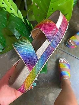 Glitter Rhinestone Platform Cute Slippers
