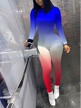 Long Sleeve Gradient Color Skinny Jumpsuits