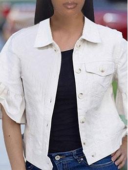 Easy-Match Pure Flare Sleeve Turndown Collar Top