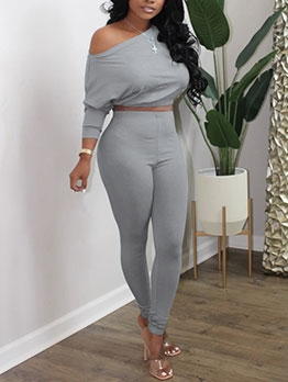 Solid Long Sleeve High Waist Two Piece Pants Set