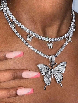 Trendy Butterfly Rhinestone Layered Necklace