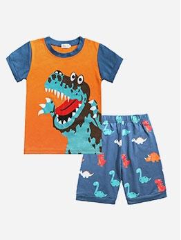 Hot Sale Dinosaur Pattern Children Two Piece Sets