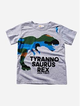 Dinosaur Pattern Short Sleeve Letter Boys Tee