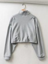 Stand Neck Drawstring Crop Sweatshirt For Women